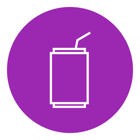 soda can: Soda can with drinking straw thick line icon with pointed corners and edges for web, mobile and infographics. Vector isolated icon.
