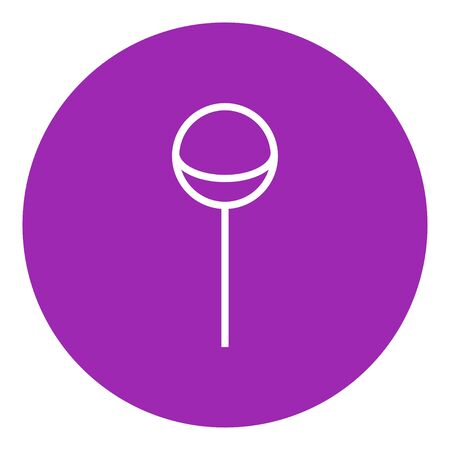 licking: Round lollipop thick line icon with pointed corners and edges for web, mobile and infographics. Vector isolated icon.
