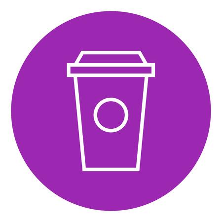 vaso desechable icono de línea gruesa con esquinas puntiagudas y bordes para web, móvil y la infografía. aislado vector icono.