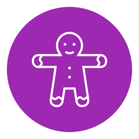 Gingerbread man thick line icon with pointed corners and edges for web, mobile and infographics. Vector isolated icon.