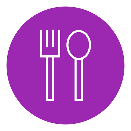 drawn metal: Spoon and fork thick line icon with pointed corners and edges for web, mobile and infographics. Vector isolated icon. Illustration