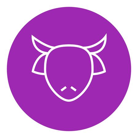 Cow head thick line icon with pointed corners and edges for web, mobile and infographics. Vector isolated icon.