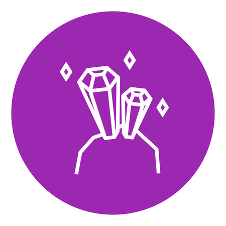 crystallization: Gemstones thick line icon with pointed corners and edges for web, mobile and infographics. Vector isolated icon.