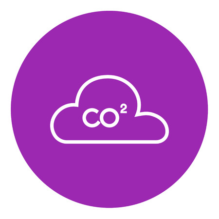 greenhouse gas: CO2 sign in cloud thick line icon with pointed corners and edges for web, mobile and infographics. Vector isolated icon.