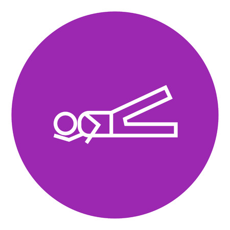 Man lying and lifting leg thick line icon with pointed corners and edges for web, mobile and infographics. Vector isolated icon.