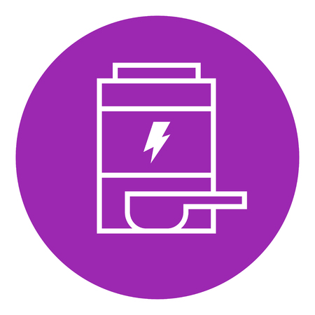 supplementation: Sport nutrition container thick line icon with pointed corners and edges for web, mobile and infographics. Vector isolated icon.