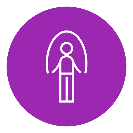 Man exercising with skipping rope thick line icon with pointed corners and edges for web, mobile and infographics. Vector isolated icon.