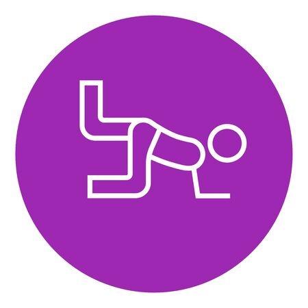 buttocks: Man exercising buttocks thick line icon with pointed corners and edges for web, mobile and infographics. Vector isolated icon. Illustration