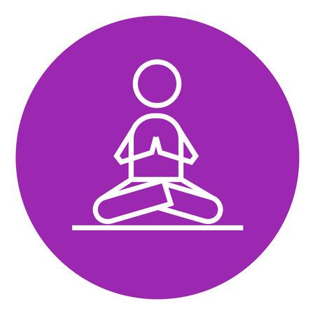 Un homme à méditer dans lotus pose épaisse icône de la ligne avec des coins pointus et les bords pour le web, le mobile et infographies. Vector icône isolé. Banque d'images - 55262128
