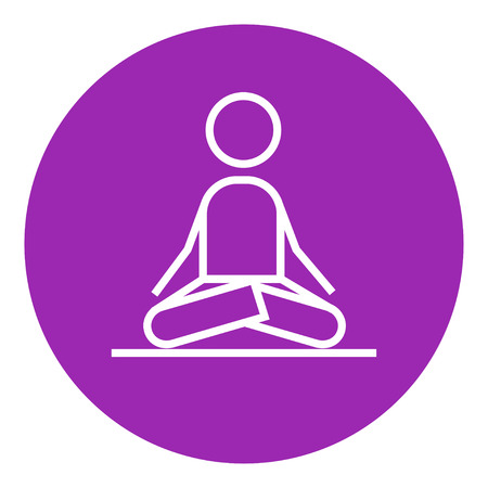 elasticity: A man meditating in lotus pose thick line icon with pointed corners and edges for web, mobile and infographics. Vector isolated icon.