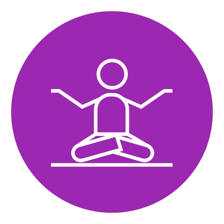 distension: A man meditating in lotus pose thick line icon with pointed corners and edges for web, mobile and infographics. Vector isolated icon.