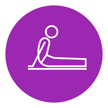 A man practicing yoga upward dog pose thick line icon with pointed corners and edges for web, mobile and infographics. Vector isolated icon. Illustration