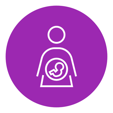 womb: Baby fetus in mother womb thick line icon with pointed corners and edges for web, mobile and infographics. Vector isolated icon.