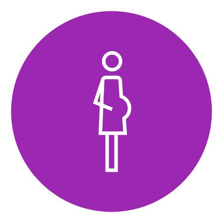 La mujer embarazada icono de línea gruesa con esquinas puntiagudas y bordes para web, móvil y la infografía. aislado vector icono. Foto de archivo - 55262811