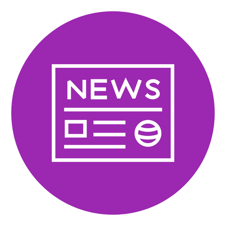 broadsheet newspaper: Newspaper thick line icon with pointed corners and edges for web, mobile and infographics. Vector isolated icon. Illustration