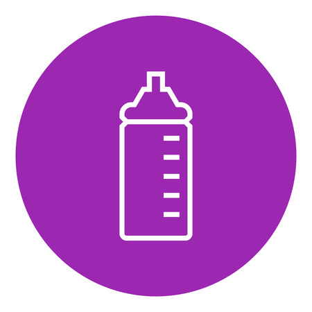 nursing bottle: Feeding bottle thick line icon with pointed corners and edges for web, mobile and infographics. Vector isolated icon.