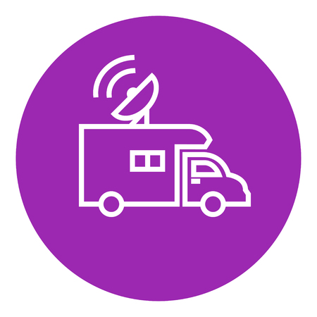 news van: Broadcasting van thick line icon with pointed corners and edges for web, mobile and infographics. Vector isolated icon. Illustration