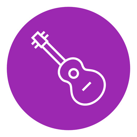 tense: Guitar thick line icon with pointed corners and edges for web, mobile and infographics. Vector isolated icon.