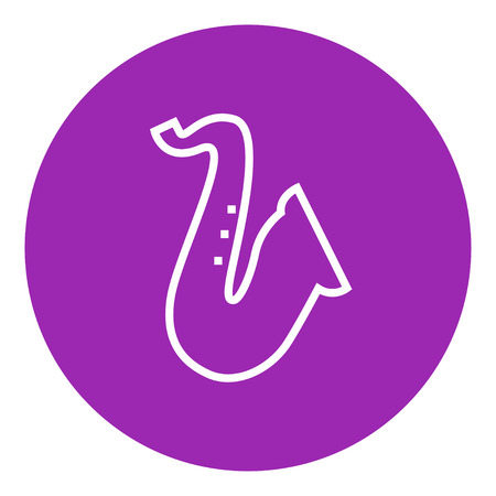 orchestral: Saxophone thick line icon with pointed corners and edges for web, mobile and infographics. Vector isolated icon.