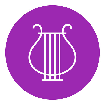 lyra: Lyre thick line icon with pointed corners and edges for web, mobile and infographics. Vector isolated icon.
