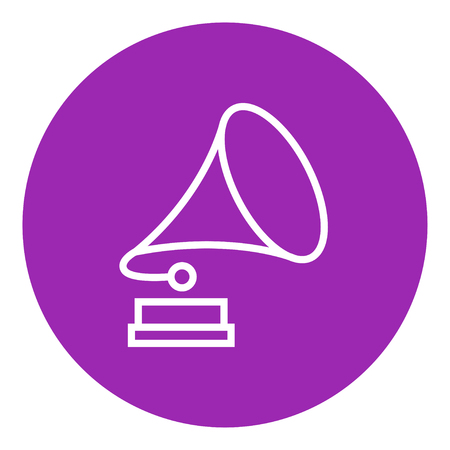 Gramophone thick line icon with pointed corners and edges for web, mobile and infographics. Vector isolated icon.