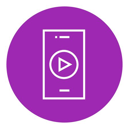 Smartphone with play button on a screen thick line icon with pointed corners and edges for web, mobile and infographics. Vector isolated icon.