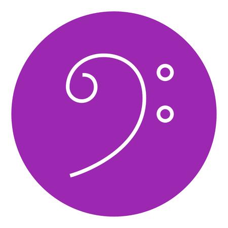 clave de fa: Clave de Fa icono de l�nea gruesa con esquinas puntiagudas y bordes para web, m�vil y la infograf�a. aislado vector icono.