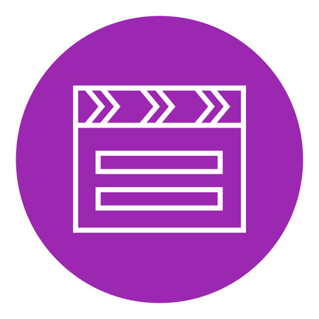 cinematograph: Clapboard thick line icon with pointed corners and edges for web, mobile and infographics. Vector isolated icon.