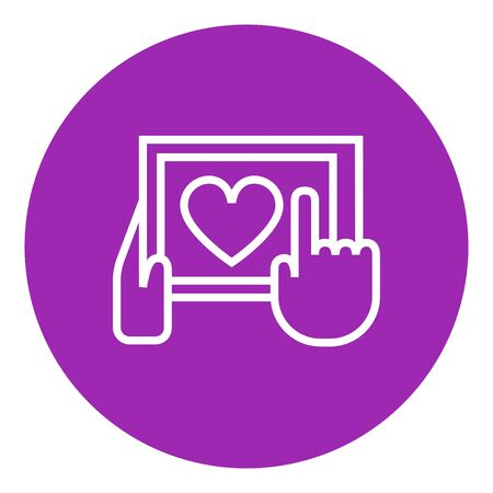 forefinger: Smartphone with heart sign thick line icon with pointed corners and edges for web, mobile and infographics. Vector isolated icon.