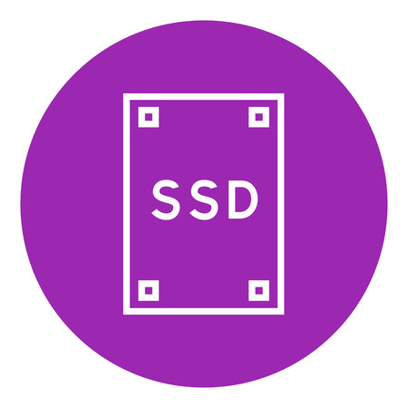 solid state drive: Solid state drive thick line icon with pointed corners and edges for web, mobile and infographics. Vector isolated icon.
