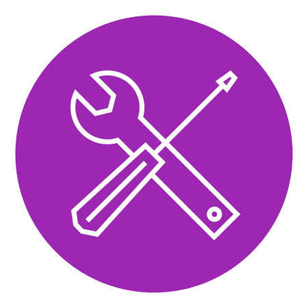 Screwdriver and wrench tools thick line icon with pointed corners and edges for web, mobile and infographics. Vector isolated icon. Illustration
