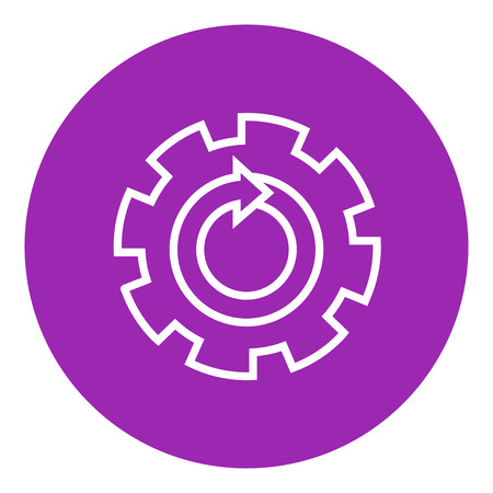 gearwheel: Gear wheel with arrow thick line icon with pointed corners and edges for web, mobile and infographics. Vector isolated icon. Illustration