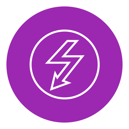 going down: Lightning arrow going down inside circle thick line icon with pointed corners and edges for web, mobile and infographics. Vector isolated icon.