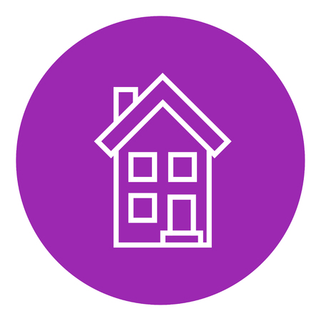 two storey: Two storey detached house thick line icon with pointed corners and edges for web, mobile and infographics. Vector isolated icon.