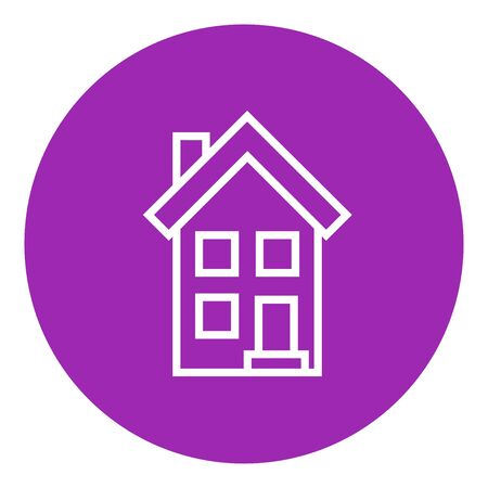 housing project: Two storey detached house thick line icon with pointed corners and edges for web, mobile and infographics. Vector isolated icon.