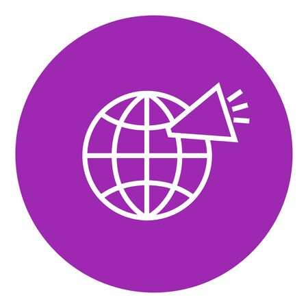 internet icon: Globe with loudspeaker thick line icon with pointed corners and edges for web, mobile and infographics. Vector isolated icon.