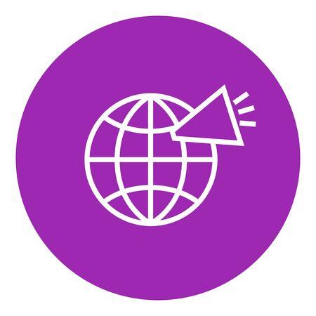 Mundo con el icono del altavoz línea gruesa con esquinas puntiagudas y bordes para web, móvil y la infografía. aislado vector icono.