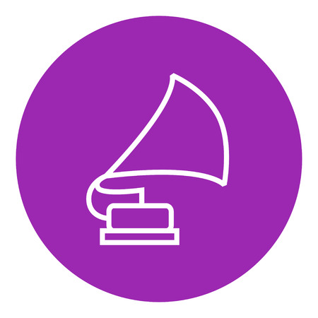 vinyl disk player: Gramophone thick line icon with pointed corners and edges for web, mobile and infographics. Vector isolated icon.