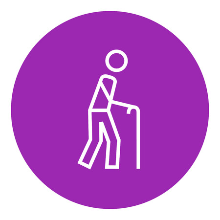 gerontology: Man walking with cane thick line icon with pointed corners and edges for web, mobile and infographics. Vector isolated icon. Illustration