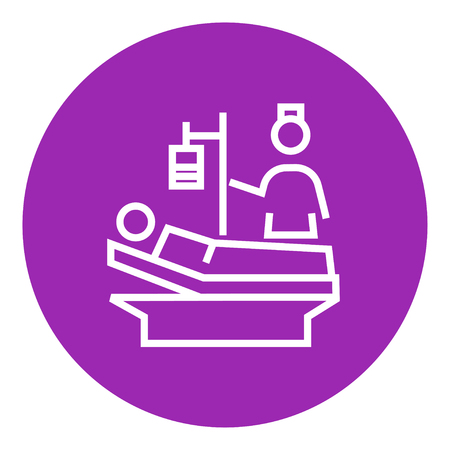 lying in bed: Nurse attending a patient lying on the bed thick line icon with pointed corners and edges for web, mobile and infographics. Vector isolated icon.