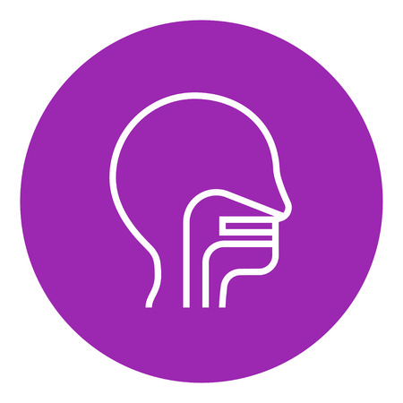 nasal: Human head with ear, nose, throat system thick line icon with pointed corners and edges for web, mobile and infographics. Vector isolated icon.