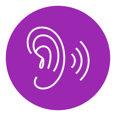 the human ear: Human ear thick line icon with pointed corners and edges for web, mobile and infographics. Vector isolated icon.