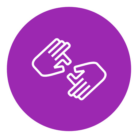 Finger language thick line icon with pointed corners and edges for web, mobile and infographics. Vector isolated icon.