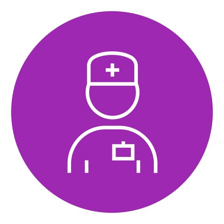 nurse cap: Nurse thick line icon with pointed corners and edges for web, mobile and infographics. Vector isolated icon.