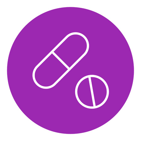 Pills thick line icon with pointed corners and edges for web, mobile and infographics. Vector isolated icon. 向量圖像