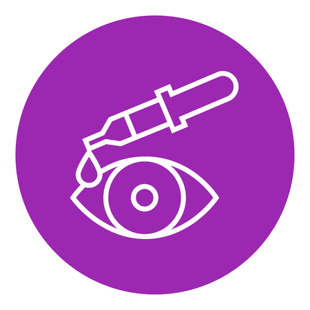 Pipet en eye dikke lijn icoon met puntige hoeken en randen voor het web, mobiel en infographics. Vector geïsoleerde pictogram. Stock Illustratie