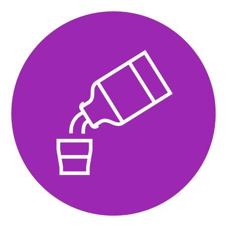 Geneeskunde en maatbeker dikke lijn icoon met puntige hoeken en randen voor het web, mobiel en infographics. Vector geïsoleerde pictogram.
