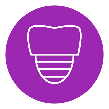 implanted: Tooth implant thick line icon with pointed corners and edges for web, mobile and infographics. Vector isolated icon.