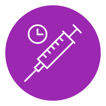 ampule: Syringe with clock thick line icon with pointed corners and edges for web, mobile and infographics. Vector isolated icon. Illustration
