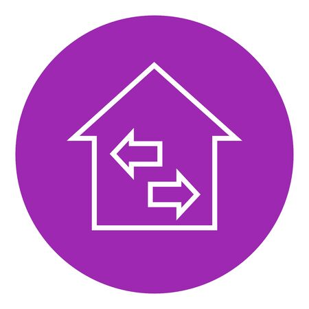 resale: Property resale thick line icon with pointed corners and edges for web, mobile and infographics. Vector isolated icon.